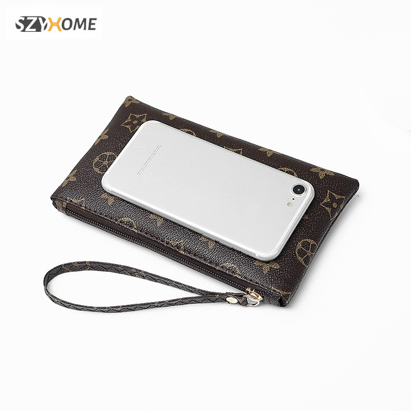 SZYHOME Phone Pouch for iPhone X 4 5 6 7 8 Plus Vintage Luxury Fashion PU Leather Hand-Held Wallet Pocket Phone Bag Accessories