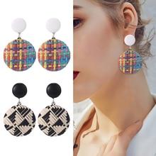 HOCOLE Fashion Geometric Bohemian Wooden Rattan Weave Dangle Earrings For Women Female Handmade Drop Earing Jewelry Gifts