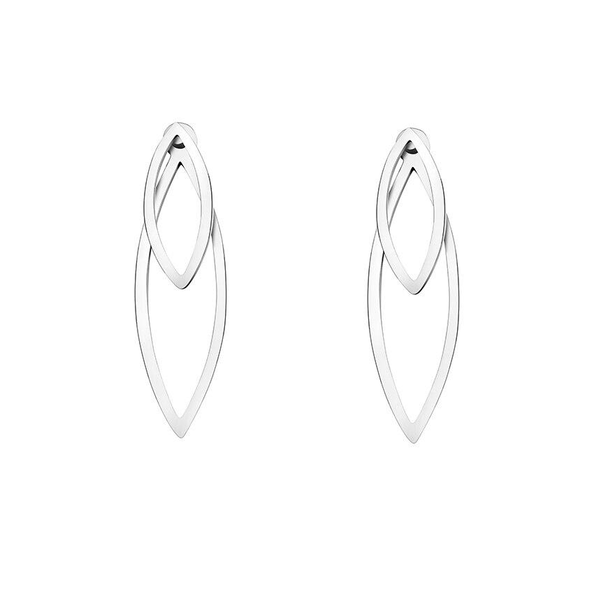 Fashion Brincos 2018 Stainless Steel Ear Jacket Flowers Stud Earrings For Women Aretes De Mujer Double Leaves Earrings Jewelry