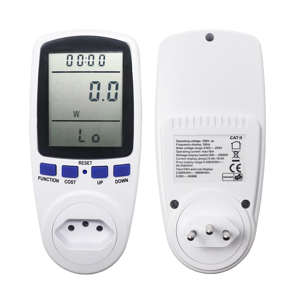 BR Plug Numérique Power Meter Wattmètre Compteur D'énergie Tension Puissance Watt Analyseur La Consommation D'électricité Outlet Socket
