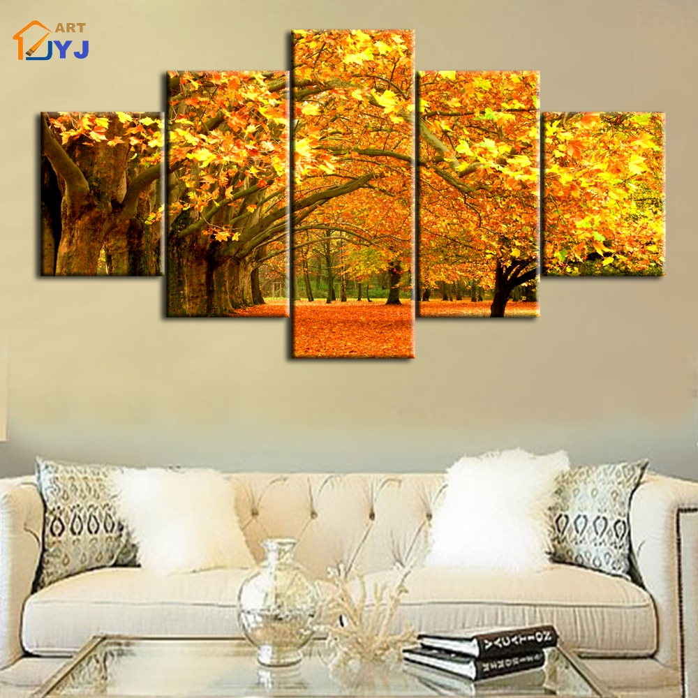 Golden season tree picture spray canvas painting wall art for living room home decor hd print - Home decor stores mn paint ...