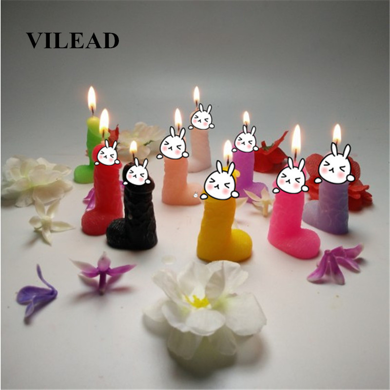 VILEAD Creative Low Temperature Candles Emulational Dick Penis Birthday Candle Safe Smokeless Tricky Gift for Boyfriend Lovers
