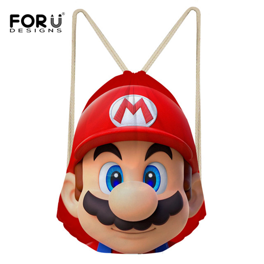 FORUDESIGNS New Cartoon Super Mario Printed Small String Backpack Women Boys Casual Travel Drawstring Bag Kids Teen Boy Sack Bag