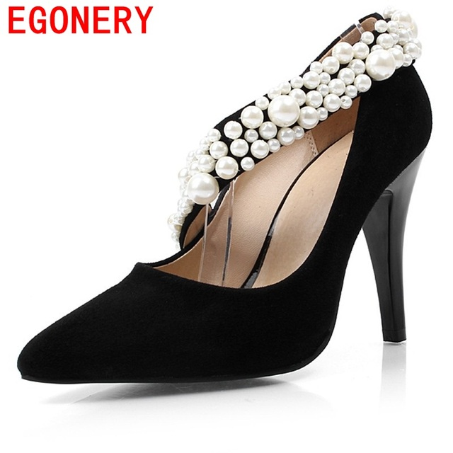 new arrival fashion leisure high thin heels solid black pumps pointed toe  wedding shoes pearls beading