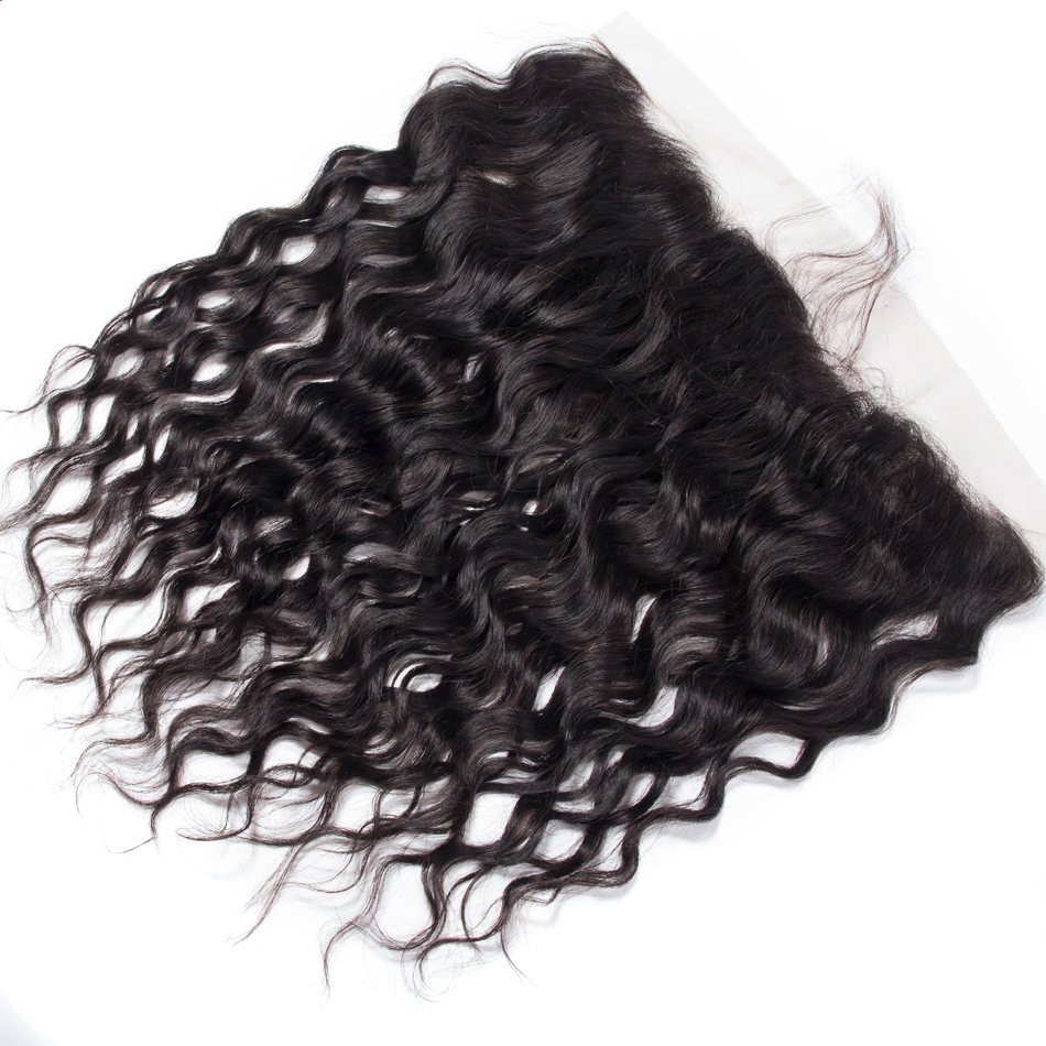 Water Wave Lace Frontal 100 Human Hair Closure 13 4 Ear to Ear Frontal Natural Black