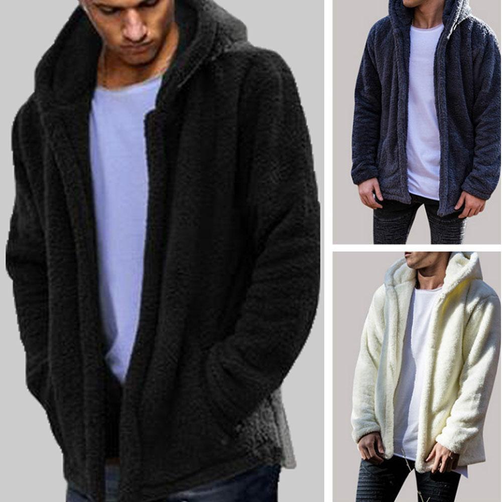 HTB1AshhXLfsK1RjSszbq6AqBXXaw Men Winter Warm Teddy Bear Long Sleeve Fleece Jackets Oversize Outwear Coats With Pockets