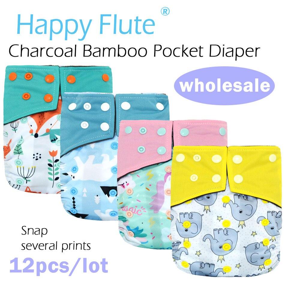 12 pcs/lot HappyFlute imperméable et réglable charbon de bois bambou poche couche-culotte