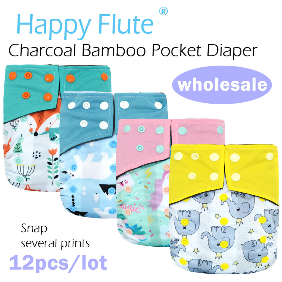 12pcs/lot HappyFlute Waterproof And Adjustable Charcoal Bamboo Pocket Cloth Diaper