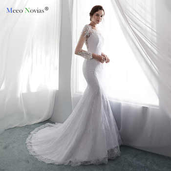 Meeo Novias Long Sleeve Lace Mermaid Wedding Dresses 2019 Simple Illusion Back Pearls Beads Bridal Wedding Gown Sexy Bride Dress - DISCOUNT ITEM  0% OFF All Category
