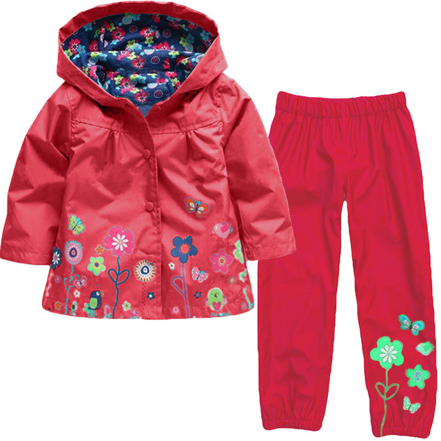 Girls Clothing Raincoat Sets Autumn Baby Casual Hoodie Jackets Pants Kids Spring Sport Suit Children Waterproof Coat Outfit 3