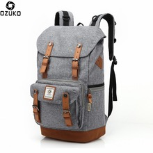 Ozuko New Man Waterproof Backpack Oxford Cloth Large Capacity Package Male Creative Beam Mouth Computer Bagpack Travel Backpacks