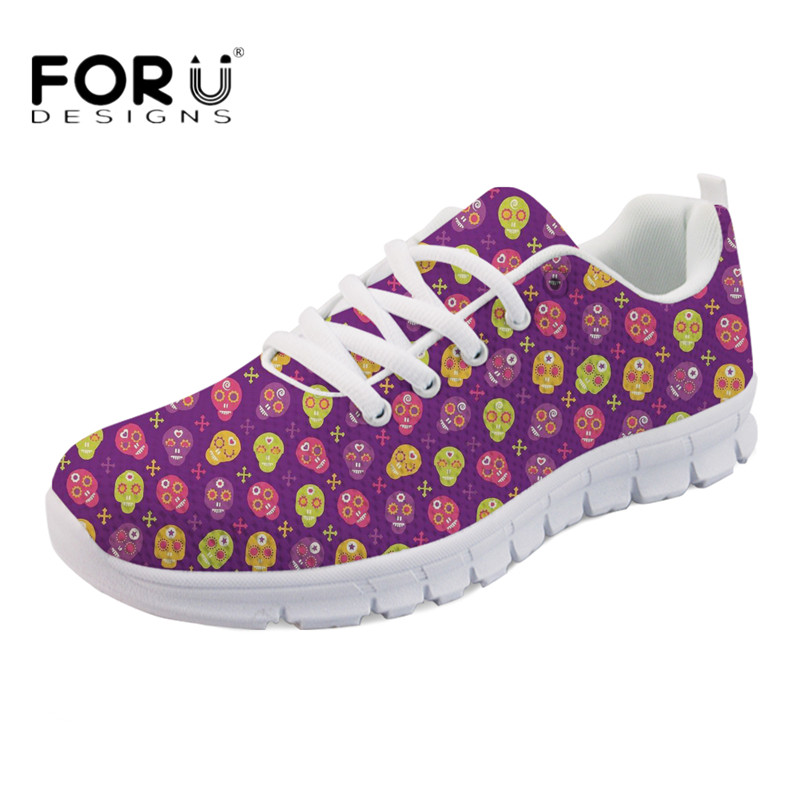 FORUDESIGNS HOT Women Flats Cute Cartoon Skull Candy Printing Casual Light Weight Sneakers Ladies Lace Up Breathable Flat Shoes forudesigns women casual sneaker cartoon cute nurse printed flats fashion women s summer comfortable breathable girls flat shoes