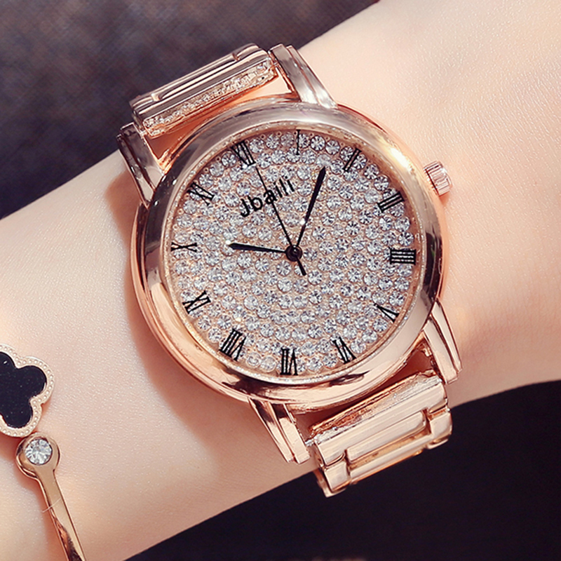 Fashion Crystal Design Roman Numerals Dial Quartz Watch Rose Gold Dress Beautiful Wristwatch Casual Women's Watches Gifts cheap fashion glitter dial clock watch women casual pu leather analog quartz watch roman numerals dress watches wristwatch