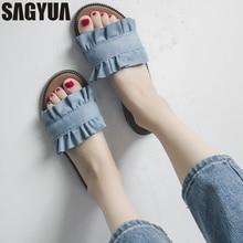 SAGYUA Bowknot Summer Outwear Women Ladies Mules Повседневная мода Babouche Beach Peep Toes Loafers Slipper Sandals Flat Shoes T437