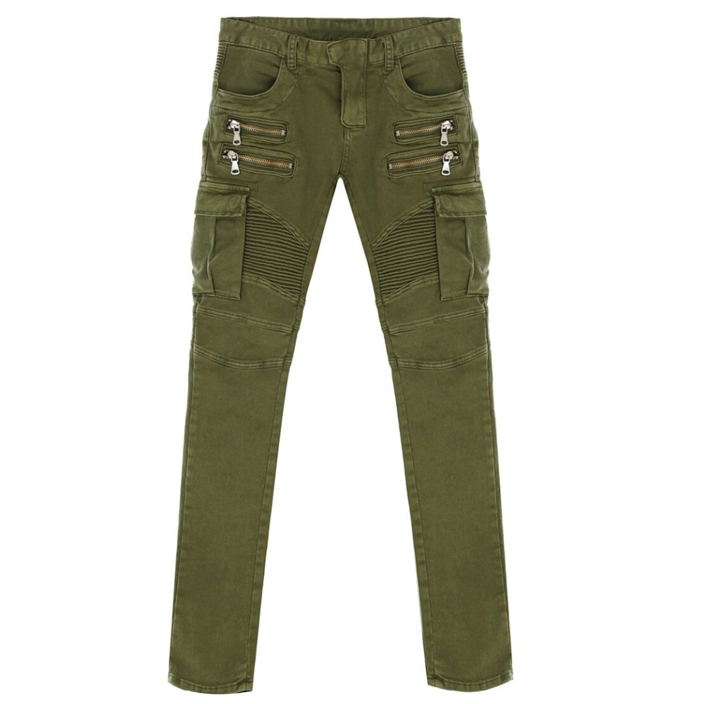 d4123436e80c3a 2016 New Men's Nightclubs army green Jeans, Fashion Designer many pocket  Denim black Jeans Men,plus size 28 38, casual jeans-in Jeans from Men's  Clothing on ...