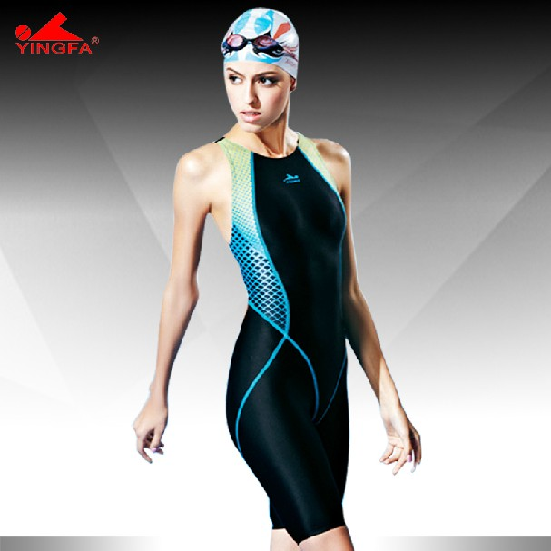 Yingfa traje de baño una pieza de la competencia hasta la rodilla impermeable resistente al cloro traje de baño de mujer traje de baño de piel de tiburón