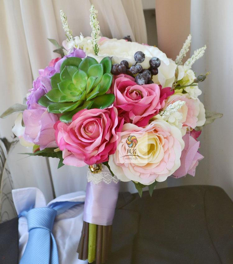 Simulation mariage mariée tenant fleurs artificielle mariée demoiselle d'honneur Bouquet violet rose Roses vert Succulent décoration de la maison