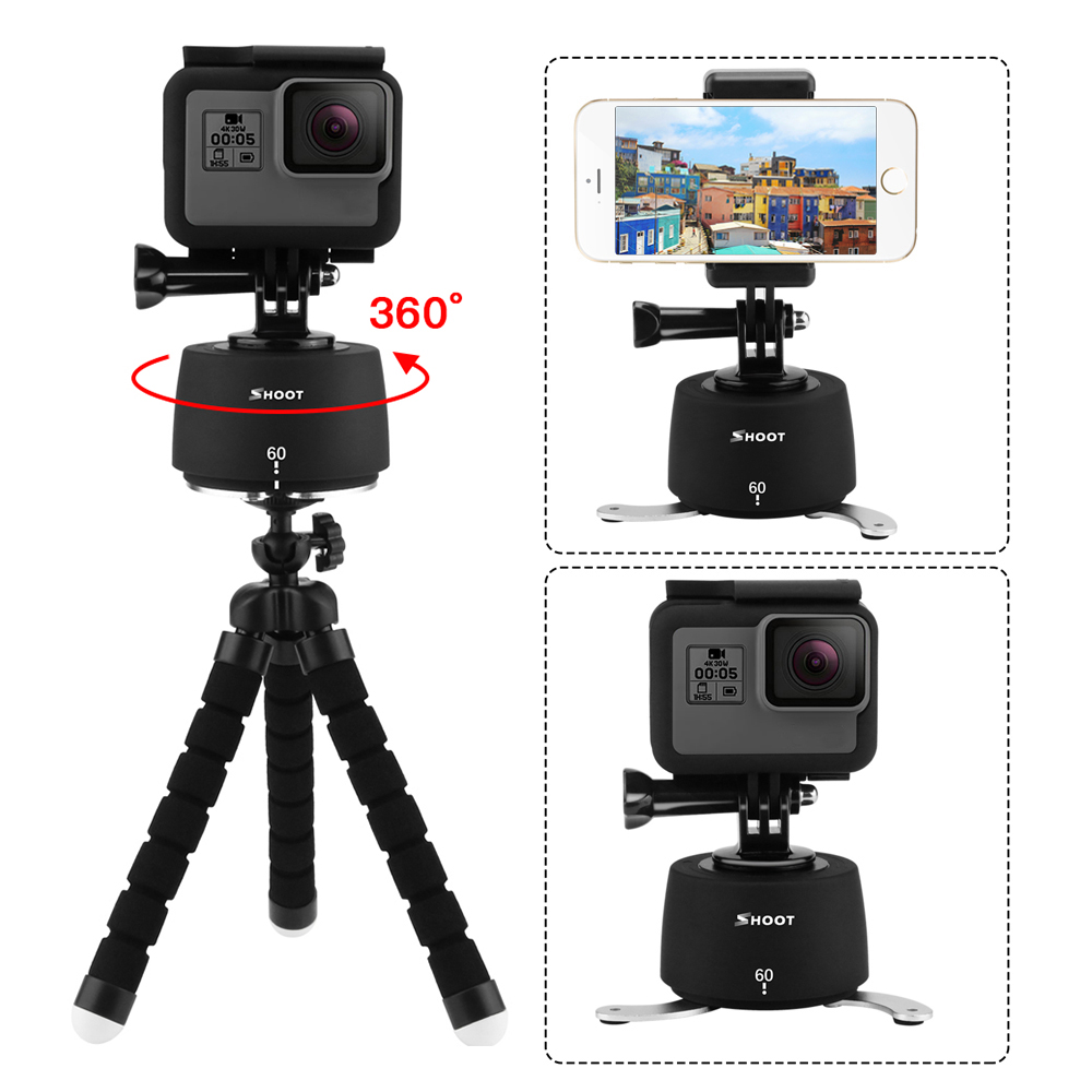SHOOT 360 Degrees Rotating Panning Ball Head Base Time Lapse Auto Rotate Tripod For GoPro 7 6 5 Yi 4k Action Camera Mobile Phone time lapse 360 degree auto rotate camera tripod head base 360 tl timelapse for xiaoyi for gopro camera slr for mobile phone