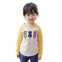 Cô gái Mùa Thu Mùa Xuân Dễ Thương Trẻ Em T-Shirt Với 3 Bé Mèo Trẻ Em Hàn Quốc Quần Áo Hàng Đầu Áo Sơ Mi, vàng/Hồng/Xanh/Xám