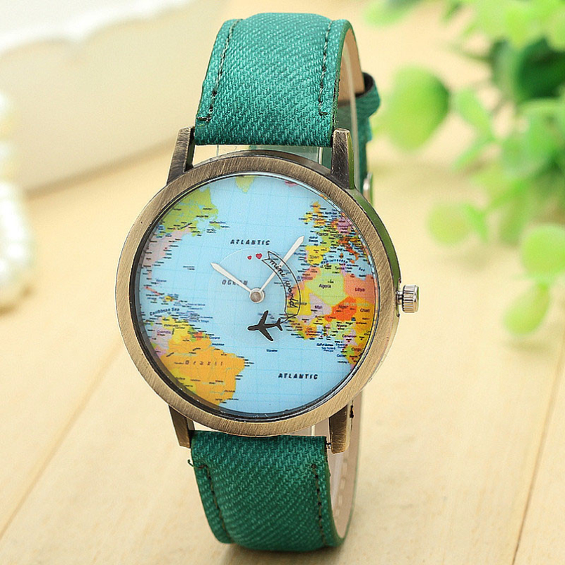Excellent Quality Brand New Quartz Watches With New Global Travel By Plane Map Womens Dress Watch Denim Fabric Band for Gift