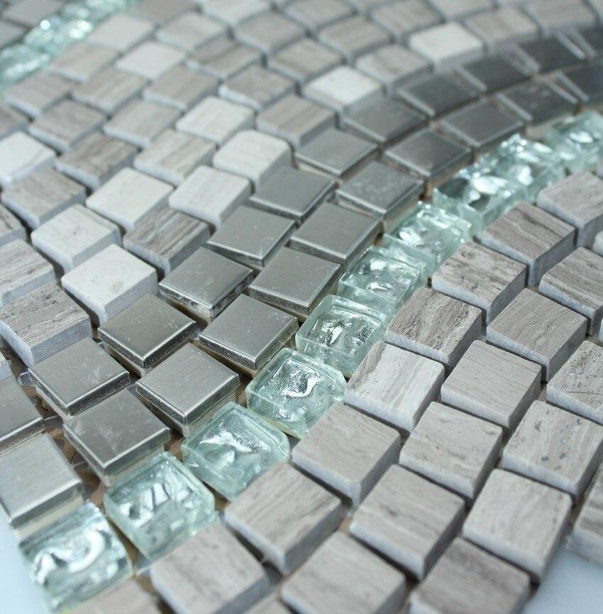 Aliexpress Buy Grey Wooden Marble Stone Metal Glass Mosaic