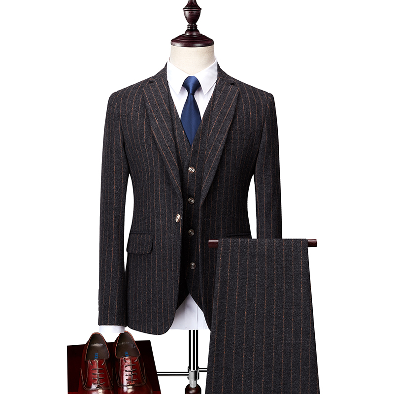Hommes costume d'hiver nouveau mode de marié de mariage robe haut de gamme partie rayé d'affaires mince costume 3 pièce ensemble (manteau + gilet + pantalon)