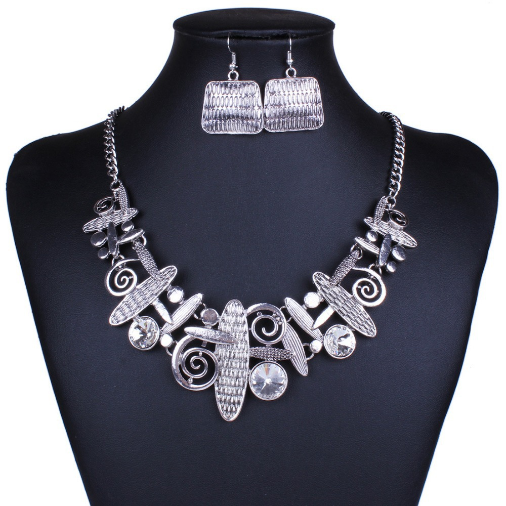 ITHIL Indian Jewellery jewelry sets statement necklace earrings bijoux femme parure for women Gold-color crystal schmuck joyeria 1