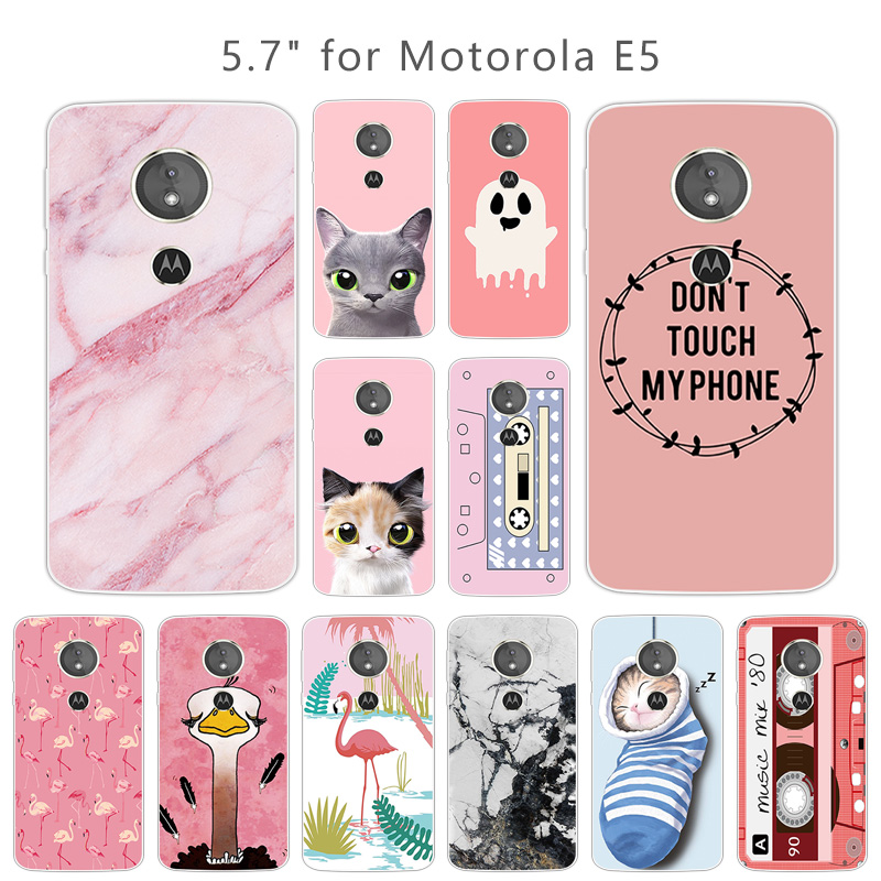 5.7inches for Motorola E5 5th Gen Phone Pink Back Cover Clear Soft Silicone for Motorola Moto E (5th Gen.) TPU Fitted Cases