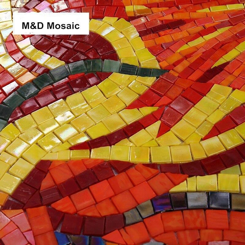 Hand Made Custom Mural Wall Sunflower Ice Jade Glass mosaic tile ...