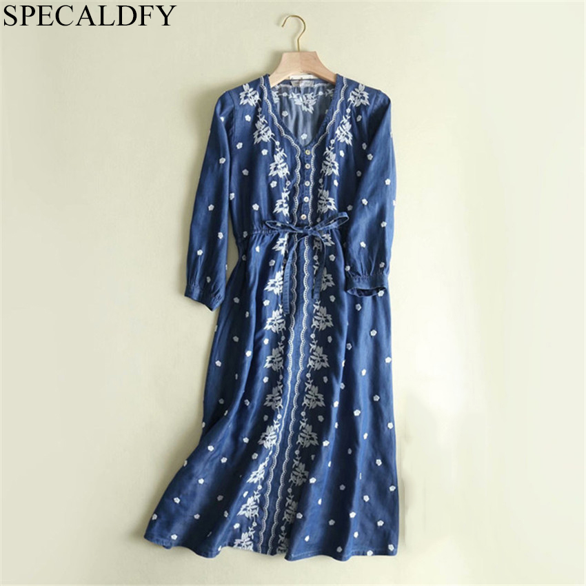 2019 Spring Vintage Bohemian Dress Women V neck Floral Embroidery Dress Plus Size Tencel Denim Shirt