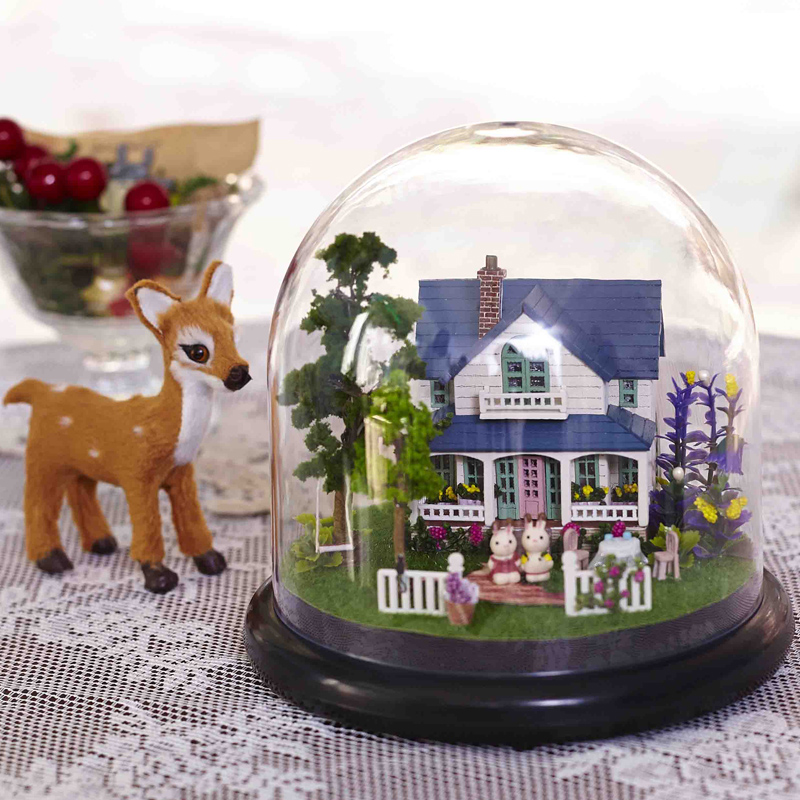 DIY Model Doll House Miniature Dollhouse with Furnitures LED 3D Wooden House Toys For Children Handmade Crafts B014 #E