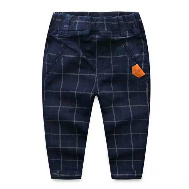 Otoño Niños Bebés Algodón cuadrícula casual pantalones de Los Niños pantalones al por mayor de Inglés