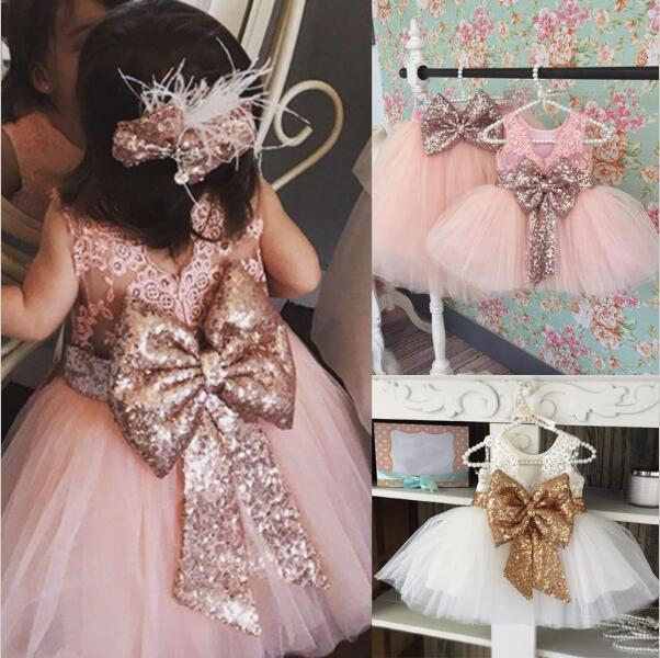 Big Bow Lace Knee-Length Sequin   Flower     Girls     Dress   Kids Pageant Party Wedding Ball Gown Prom Princess Formal   Girls     Dress