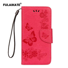 FULAIKATE Butterfly Flip Case for Wiko Lenny4 Embossed Back Cover Leather Holster LENNY4 Mt Stand Cases