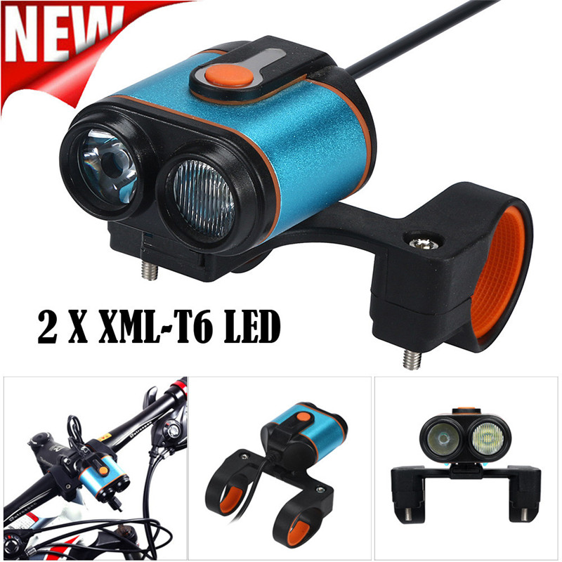 2 x XML T6 LED 4 Modes 15000 Lumens Lamp USB Rechargeble Bike Headlight Cycling Torch Bicycle Front Hand Light Wholesale M20