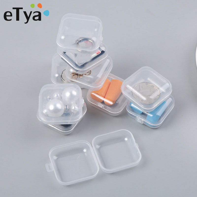 ETya Travel Portable Jewelry Box Storage Organizer Women Transparent Jewelry Small Package Box Travel Packaging Case 5pcs/lot