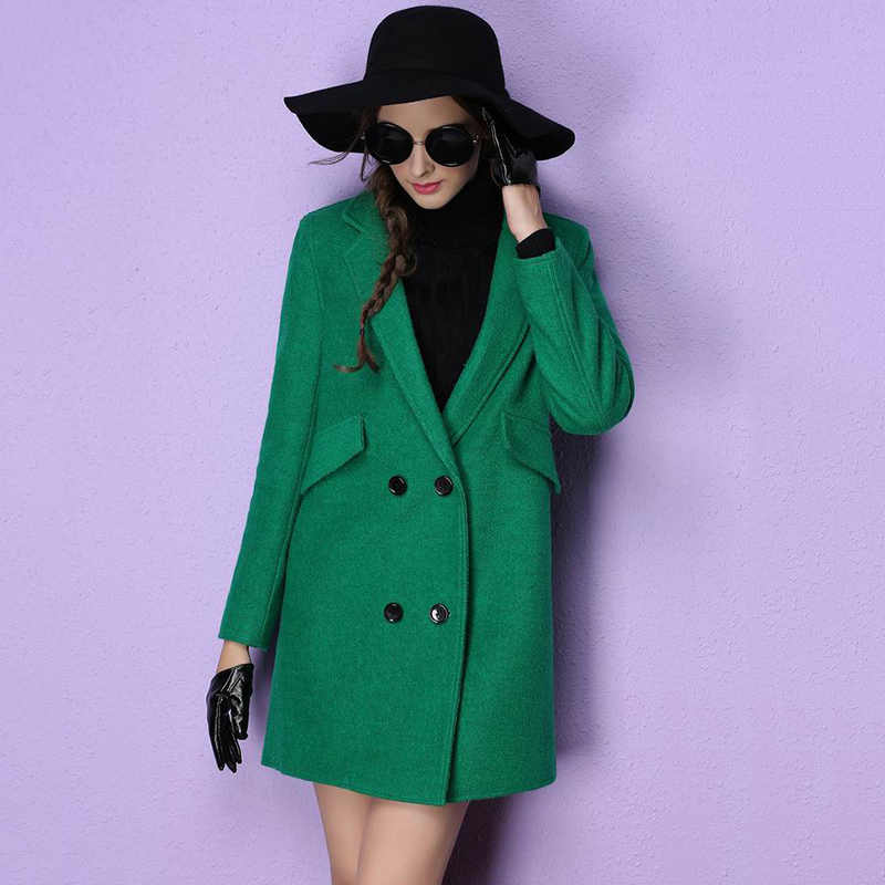 2018 Winter Warm Coat Women Wide Waisted Wool Blend Coat Oversize Long Green Red Yellow Trench Coat Outwear Wool Coat For Women