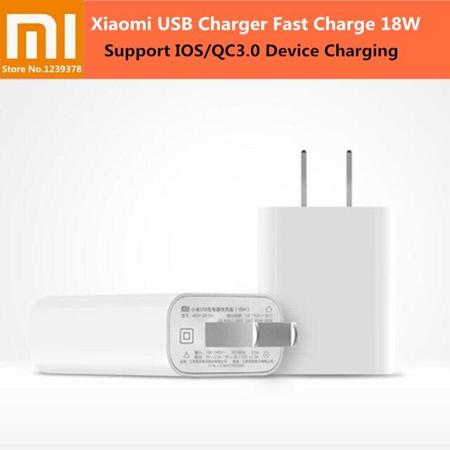"XIAOMI 18 w מהיר תשלום 3.0 מהיר מטען ארה""ב תקע קיר USB מטען מתאם עבור iPhone X 8 7 סמסונג huawei P 20 10 Xiaomi 8 SE 6"