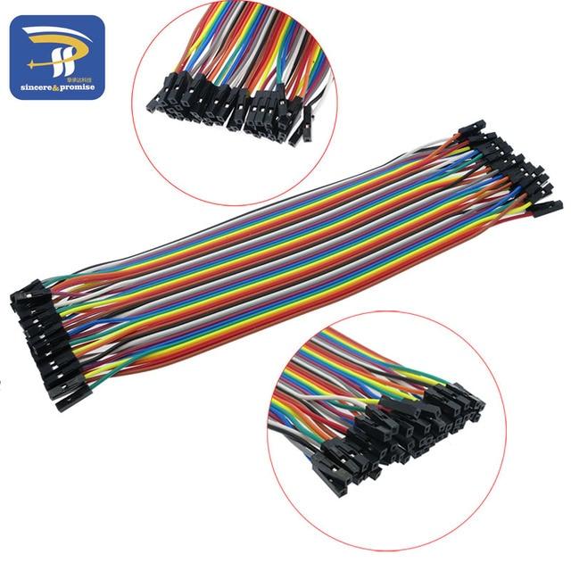 40 stücke in Reihe Dupont Kabel 20 cm 2,54mm 1pin 1 p-1 p Buchse auf Buchse Jumper draht für Arduino Großhandel