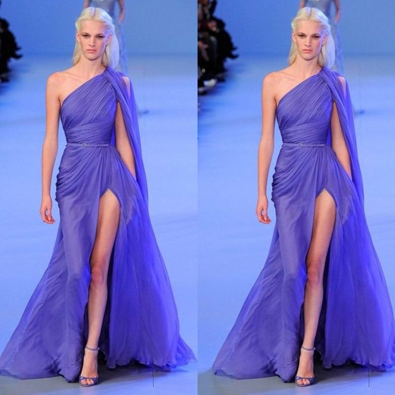 Fashion Show Evening Unique Design One Shoulder Side Split Long Elegant Dress For Wedding Party
