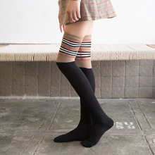 Winter Knee High Socks Women Cotton Elasticity Striped Stockings College Style Warm Woman Long