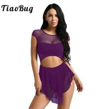 TiaoBug Women Sleeveless O Neck Mesh Cutout Asymmetrical Ballet Tutu Dress Adult Gymnastics Leotard Ballerina Bodysuit Dancewear