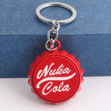 лучшая цена Game series Nuka Cola red Keychain personality Car Keyring Bottle Cap Key Chain for Women and Men unique Valentine's day gift