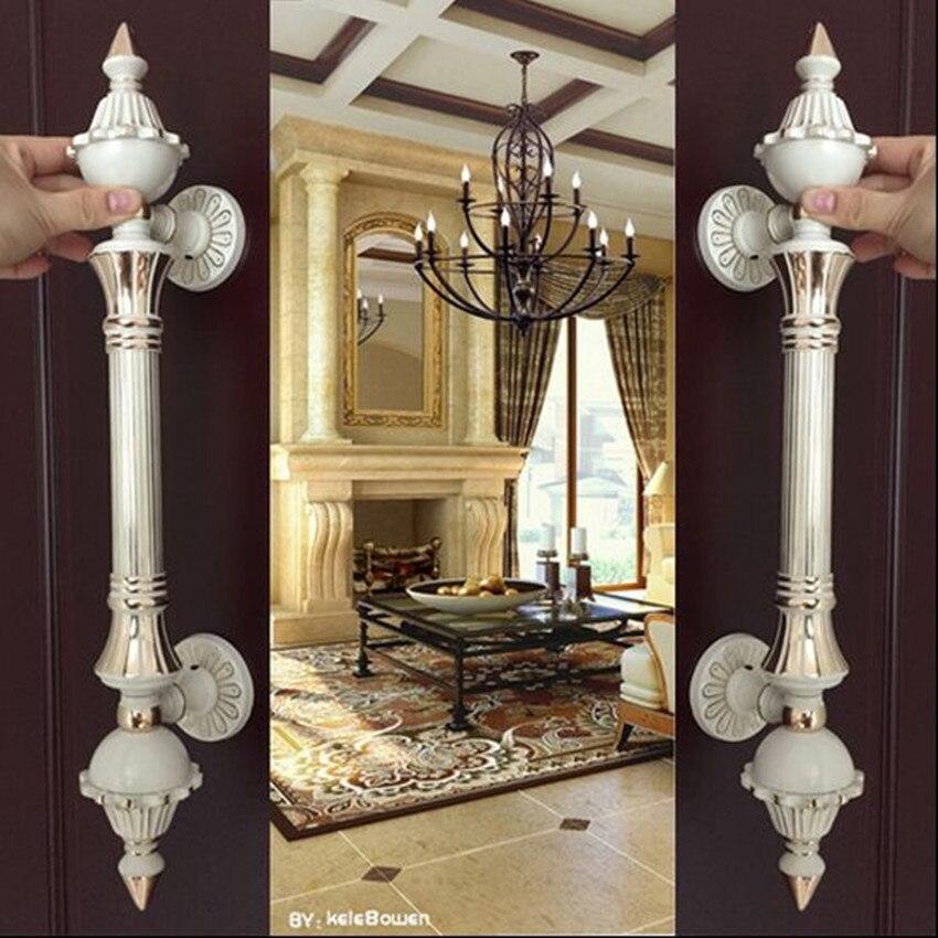 europa vinatge blanco marfil grande puerta manija de la puerta de cristal de oro blanco puerta