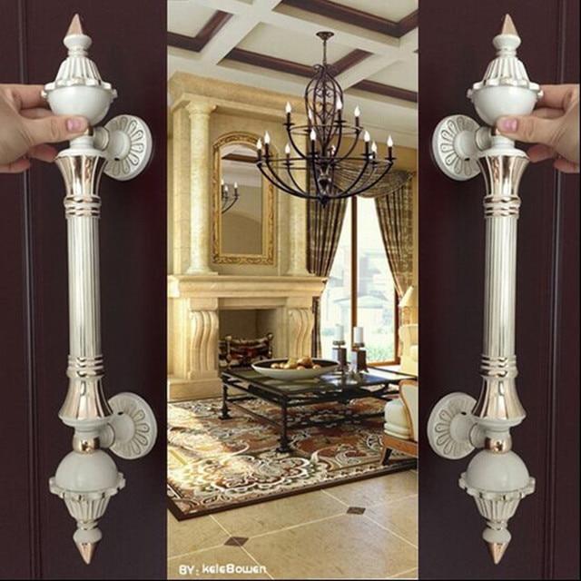 Europa vinatge blanco marfil grande puerta manija de la puerta de cristal de oro blanco puerta de madera Oficina del Hotel Ktv puerta manija del tirón de calidad Superior 550mm