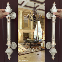 Europe Vinatge Ivory White Big Gate Door Handle White Gold Glass Wooden Door Pull Handle Top