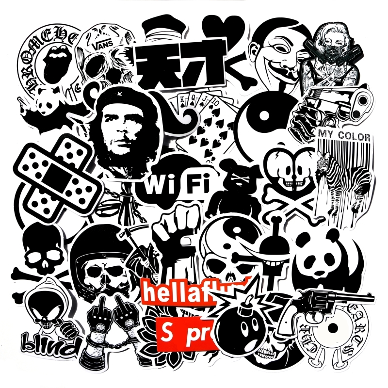 45 Pcs Funny Transparent Black And White Mixed Sticker For Car Laptop Luggage Skateboard Motorcycle Decal Kids Toy Sticker