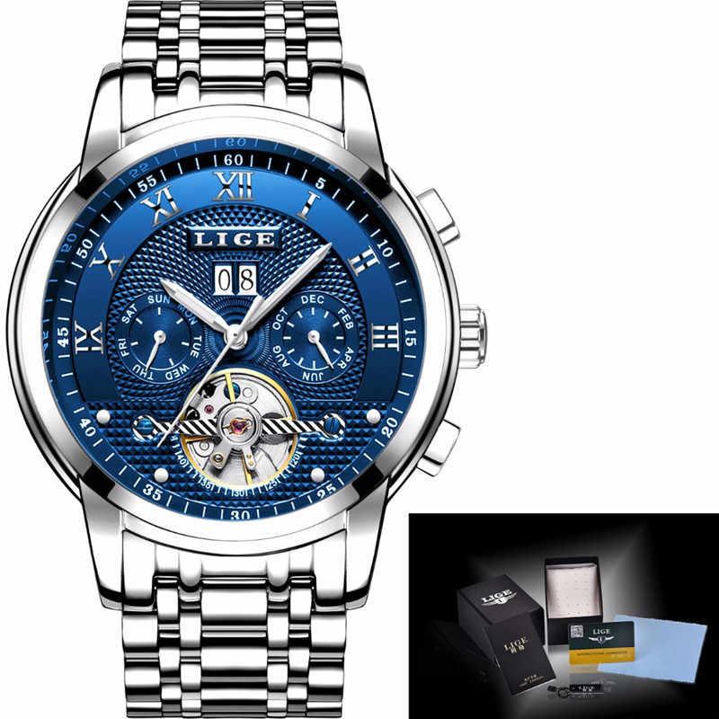 LIGE Mens นาฬิกาแฟชั่นแบรนด์หรูอัตโนมัติ Mechanical นาฬิกาผู้ชายสบายๆนาฬิกากันน้ำ Relogio Masculino + กล่อง