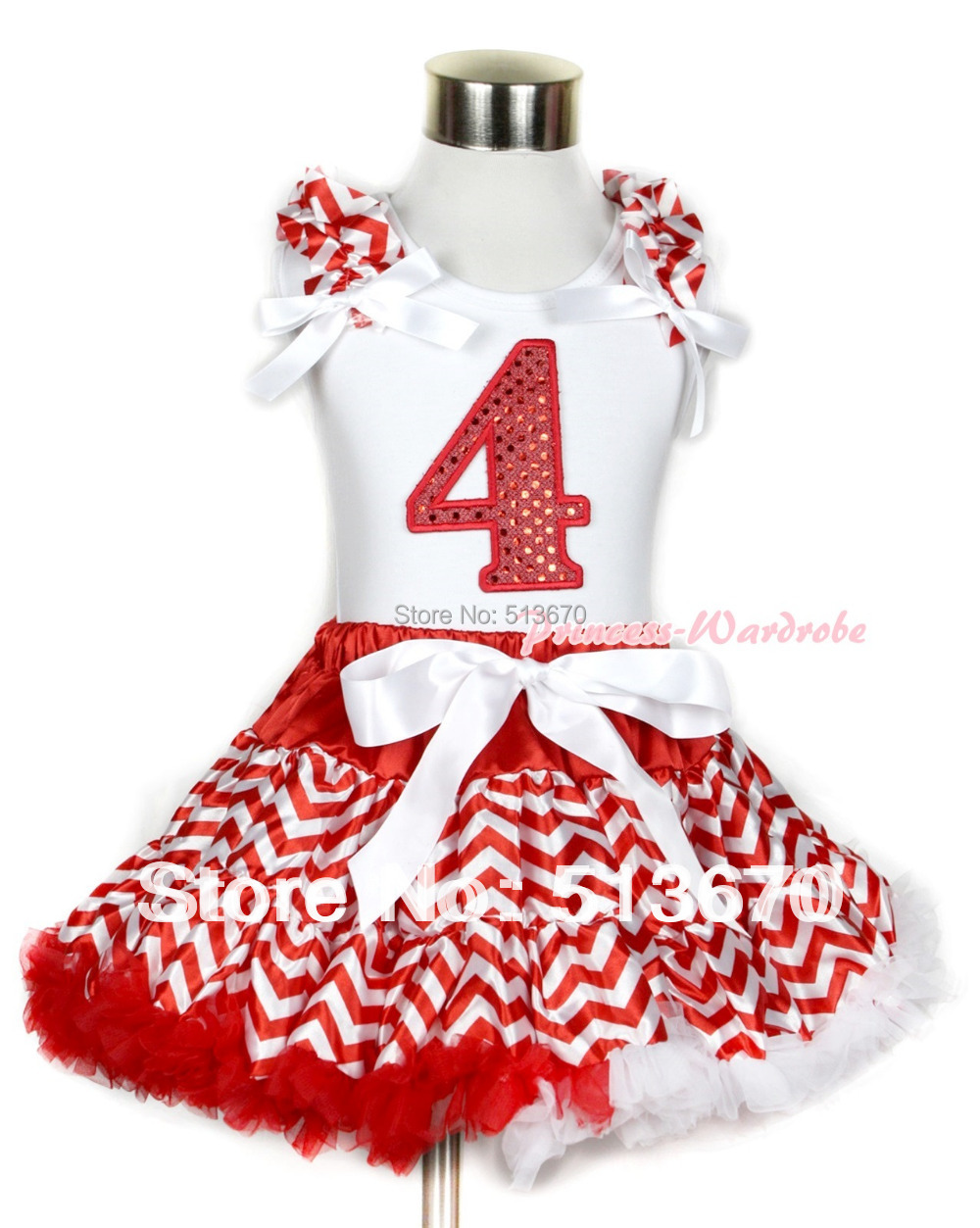 Xmas White Tank Top with 4th Sparkle Red Birthday Number Red White Wave Ruffles  White Bow & Red White Wave Pettiskirt MAMG749 xmas white tank top 2nd sparkle red birthday number with red snowflakes ruffles