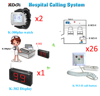 Wireless Hospital Calling System Ycall Brand CE Passed 433.92MHZ Restaurant Pager Full Set( 1 display 2 watch 26 button)